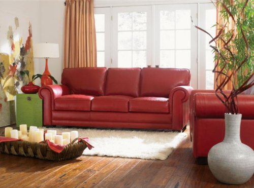 (Napoli Spice 100% Full Aniline Dyed Italian Leather Sofa)