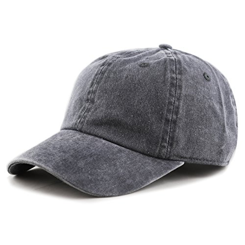 THE HAT DEPOT 100% Cotton Pigment Dyed Low Profile Six Panel Cap Hat (Charcoal) (Two Baseball Hat Tone)