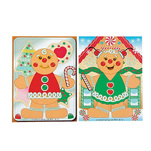 Fun Express - Make-A-Gingerbread Man Stickers for Christmas - Stationery - Stickers - Make - A - Scene (Sm) - Christmas - 12 - Gingerbread Crafts Kids Man For