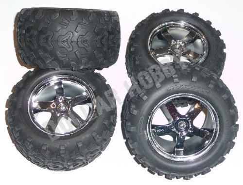 Traxxas T-Maxx 3.3TIRES & WHEELS Rims 14mm Hex 3.8 by Traxxas ()