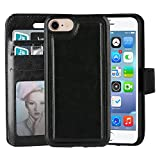 iPhone 7 Case, iPhone 8 Case, Zeato [Folio Style] Wallet Case PU Leather Magnet Detachable Wallet Credit Card Holder Flip Case Cover with Built-in Card Slots for iPhone 7/8 (4.7'') - Black