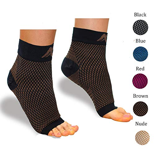 Compression Foot Sleeves for Men & Women – Best Plantar Fasciitis Socks with Arch Support (Black/Brown, Small)
