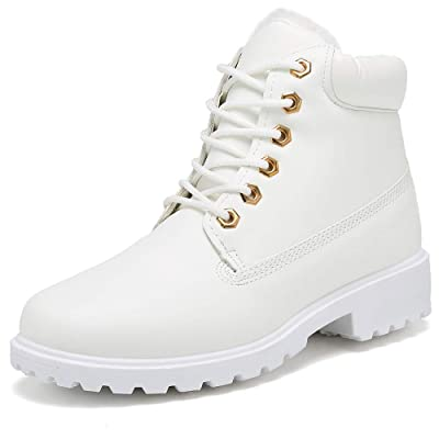 Inornever Winter Snow Boots for Women Waterproof Shoes Flat Lace Up Ankle Booties Low Heel Work Combat Boots | Snow Boots