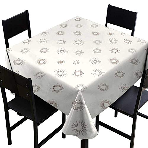 Zoisy Waterproof Tablecloth Seamless Background with Beige Doodle