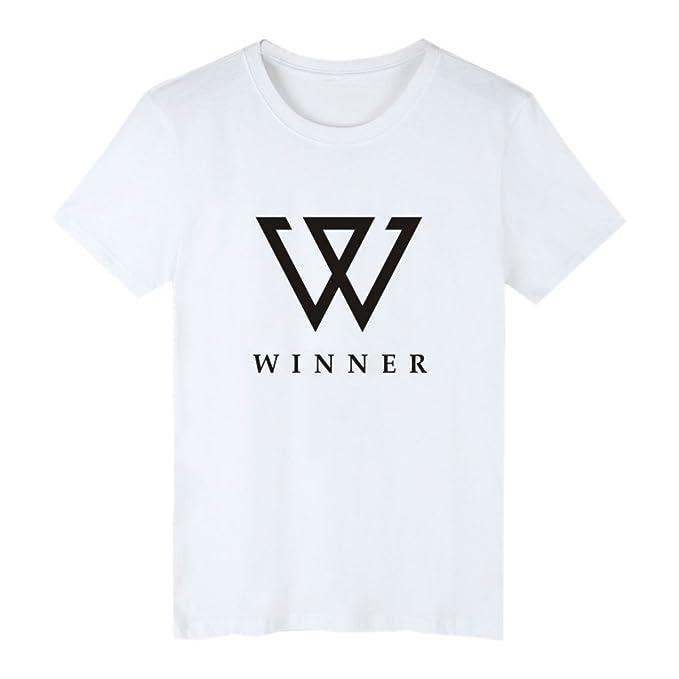 DJS KPOP Ganador de la Moda Coreana Hiphop MINO Song Min Ho NAM Tae Hyun Estilo de Verano Capital W Print Camiseta de Manga Corta Hombre Mujer Más Fans de ...