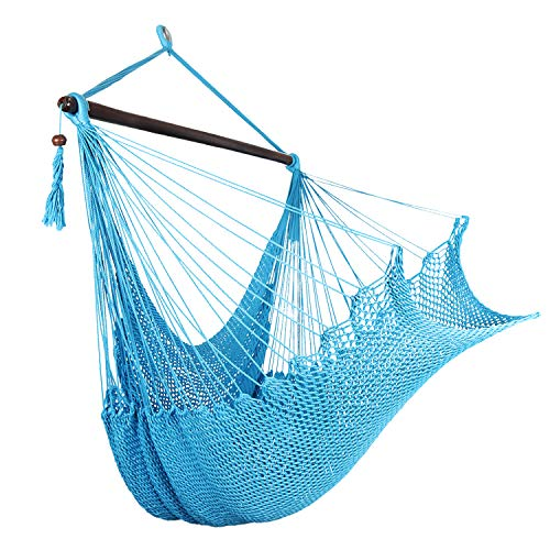 Bathonly Large Caribbean Hammock Hanging Chair with-Soft Spun Cotton Rope Hanging Chair, Swing Chair, with Wood Bar for Indoor Outdoor Garden Living Room