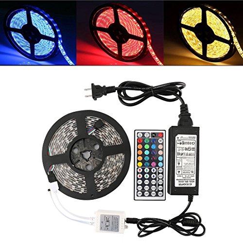 SREEGA 5Meter 16.4ft Color Changing LED Strip Lights 300leds RGB White 4 Colors + 44 Key Remote Controller
