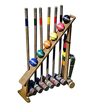 Image of Croquet Franklin Sports Outdoor Croquet Set - 6 Player Croquet Set with Stakes, Mallets, Wickets, and Balls - Backyard/Lawn Croquet Set - Vintage