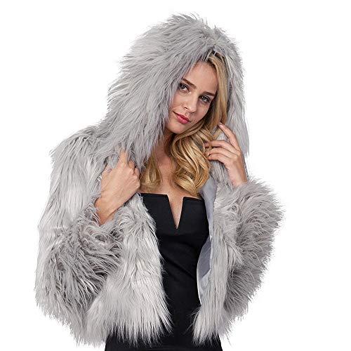 Longra Autumn Women's Faux Fur Coat Hooded Parka Outerwear Jacket Winter Multicoloured Thicker Coat Jacket Gray
