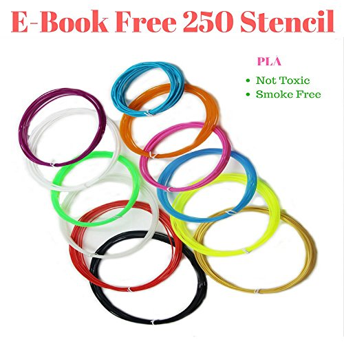 3D Pen Filament Refills 1.75mm PLA Linear Feet Total 12 Different colors fun pack FREE Stencils eBook & 4 Glow In Dark Colors - Mall Orange Hours