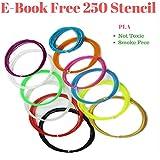 3D Pen Filament Refills 1.75mm PLA Linear Feet Total 12 Different colors fun pack FREE Stencils eBook & 4 Glow...