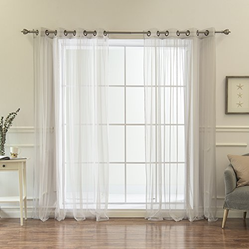 Best Home Fashion Tulle Sheer Lace Curtains - Antique Bronze Grommet Top - Grey - 52