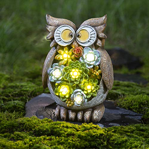 GIGALUMI Owl Garden Figurines Outdoor Solar; Waterproof Resin Succulent Plants with Solar Powered 7 LED Outdoor Decor Statues Lights for Lawn、Patio、Yard、Garden、Path、Walkway or Driveway.