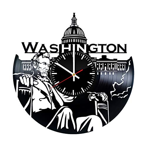 Washington Vinyl Clock - Washington City USA Vinyl Records Wall Art Room Decor Handmade Decoration Party Supplies Theme - Best Original Present Gift Idea - Vintage Modern Style