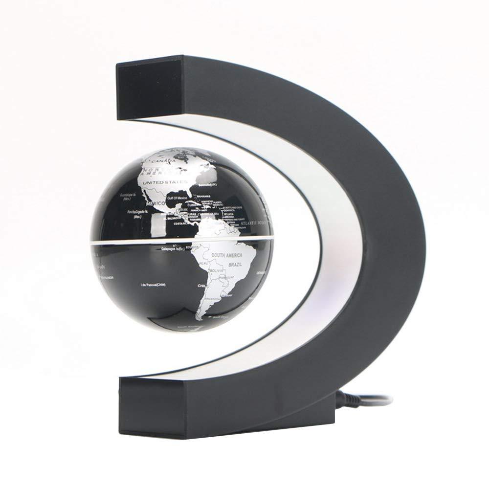 Weehey 3Levitazione Magnetica a Forma di C Levitazione del Globo Levitazione Magnetica Rotante Mappamondo Globo con Luci a LED Colorata per LInsegnamento a Casa Scrivania Decorazione