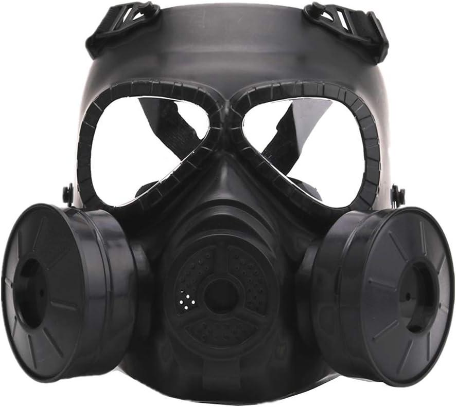 CARACHOME Mascara Gas con Ventilador Doble,Explorer Mascara Proteccion,Mascara Tactica para Exteriores con Correa Ajustable, Adecuada para BB Gun CS Cosplay Disfraz De Paintball Caza,Black