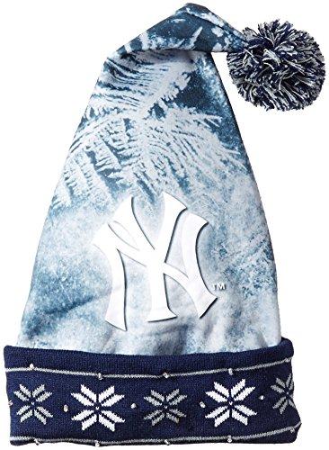 MLB New York Yankees Light Up Printed Santa Hat, One Size, Blue Mlb Santa