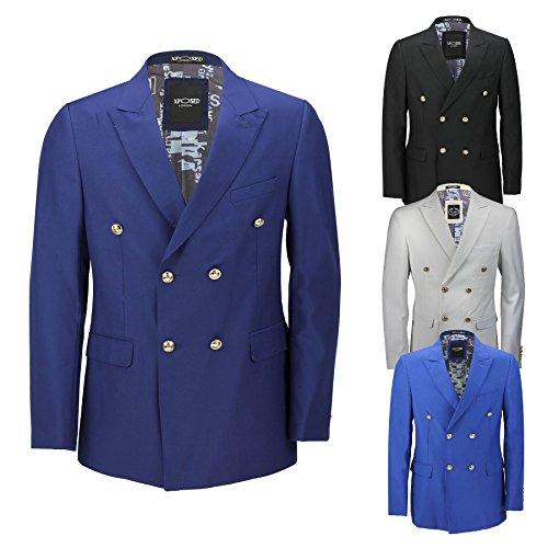 Klassisches Herren-Jackett, Zweireiher, Blauschwarz, mit Goldfarbenen Knöpfen im Vintage-Stil, 4 Farben Gr. Brust 52, weiß