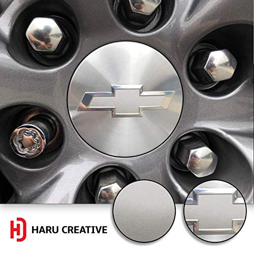Haru Creative - Center Wheel Cap Bowtie Emblem Overlay Insert Inlay Vinyl Decal Sticker Compatible with and Fits Chevy Silverado 2019 - Metallic Matte Chrome Silver