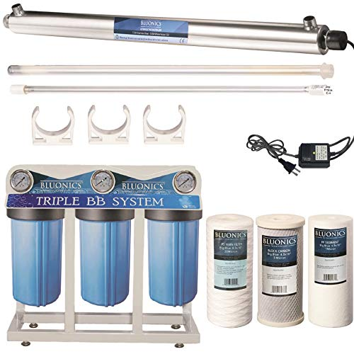 55W UV Ultraviolet Light + Sediment & Carbon Well Water Filter Purifier System with 3/4