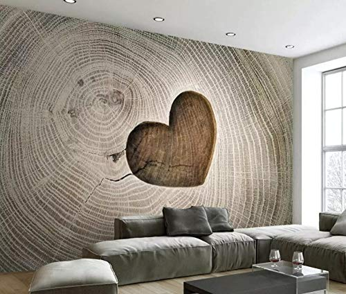 Wallpaper 3D Creative Heart-Shaped Hollow Wood Grain Custom Large Mural 3D Effect Living Room Bedroom Wall Murals,150cmX105cm