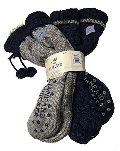 grey for Slipper 2 amp; Pair Blue Bleecker Socks Navy Jane Ladies dIvYqY