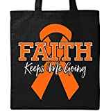 Inktastic - Orange Ribbon Faith Keeps Me Going Tote Bag Black