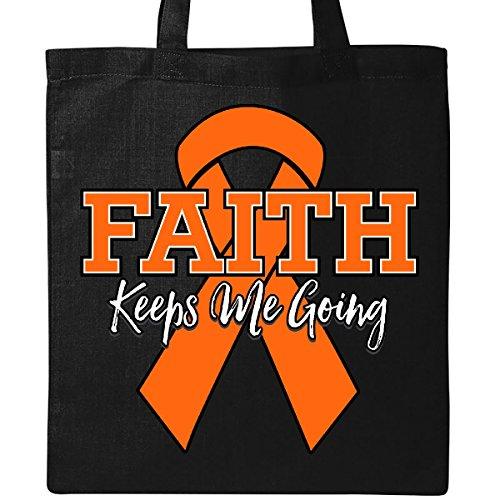 Inktastic - Orange Ribbon Faith Keeps Me Going Tote Bag Black by inktastic