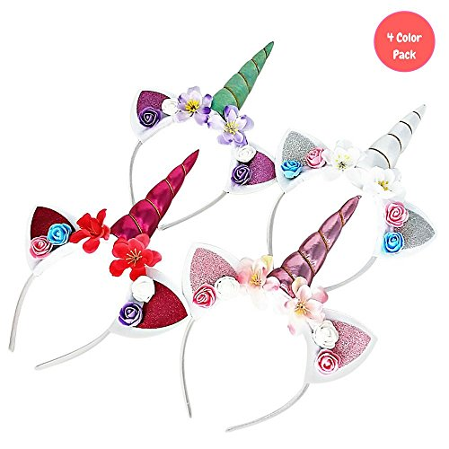 Unicorn Headbands for Girls - Princess Horn Party - Birthday Cosplay   Pack of 4