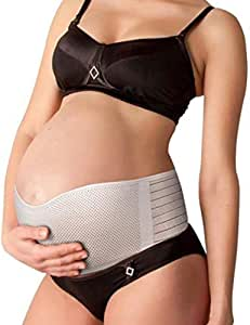 Nu Momz Maternity Belt - Comfortable & Breathable Belly Band - Abdominal Binder - Lower Back & Pelvic Support - Pregnancy & Postpartum Waist Band - Prenatal Baby Cradle - One Adjustable Size - Beige