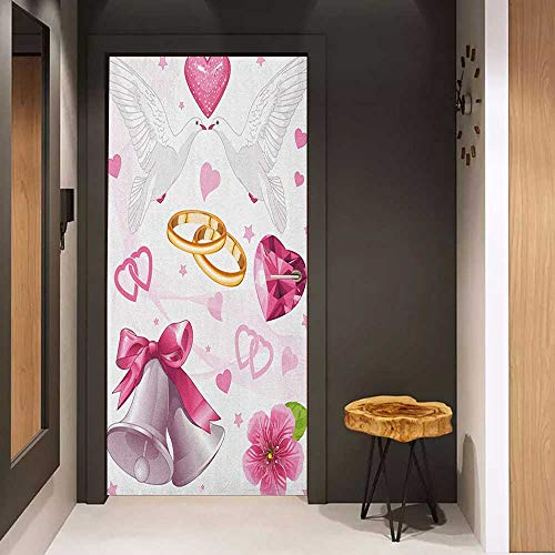 (Onefzc Door Wallpaper Murals Wedding Wedding Themed Artwork Invitation Announcement Hearts Rings Birds Happiness WallStickers W36 x H79 Pink White Gold)