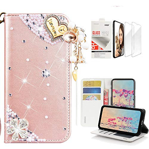 - STENES Bling Wallet Case Compatible with Samsung Galaxy Note 8 - Stylish - 3D Handmade Heart Pendant Flowers Design Leather Case with Wrist Strap & Screen Protector [2 Pack] - Pink