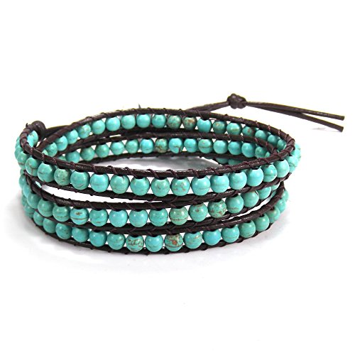 AeraVida Simulated Turquoise-Cotton Wax Rope-Leather With Base Metal Clasp Tribal Wrap Bracelet