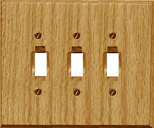 - Runwireless Traditional Light Oak Wood, Switch plate, Wall plate, Cover, 4-430 (Triple Toggle 4-430TTT Pack of 3)