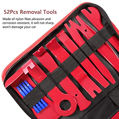 AUTDER Trim Removal Tool Set 52Pcs, Car Trim Puller Tool Kit, Plastic Pry Tools Set for Trim/Panel/Door/Audio, Auto Clip Pliers/Fastener Remover Set, Car Stereo/Terminal Removal Tool Kit - Red: Automotive