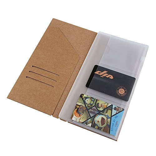 "(2-Pack)Kraft File Folder and Clear Plastic Zipper Case,Travelers Notebook Inserts Standard Size 8.3""X4.3"""
