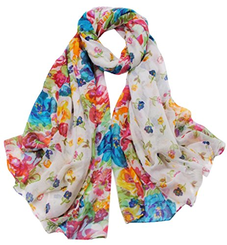 tton Voile Print Colorful Flowers Long Scarf Shawl Wrap Color White (White Floral Scarf)