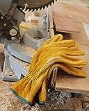OZERO Leather Work Gloves, Genuine Cowhide
