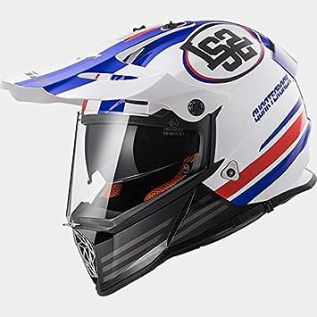 LS2 MX436 PIONERO Jugador DE Ataque Doble Visera Casco de Motocross - Blanco Rojo Azul L
