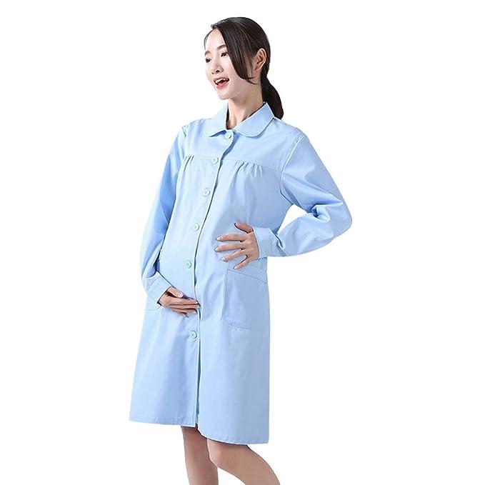 Xianheng Bata Médico Laboratorio Uniforme de Trabajo Enfermera Sanitaria de Manga Larga de Moda Blanca para Mujeres o Mujeres Embarazadas: Amazon.es: Ropa y ...