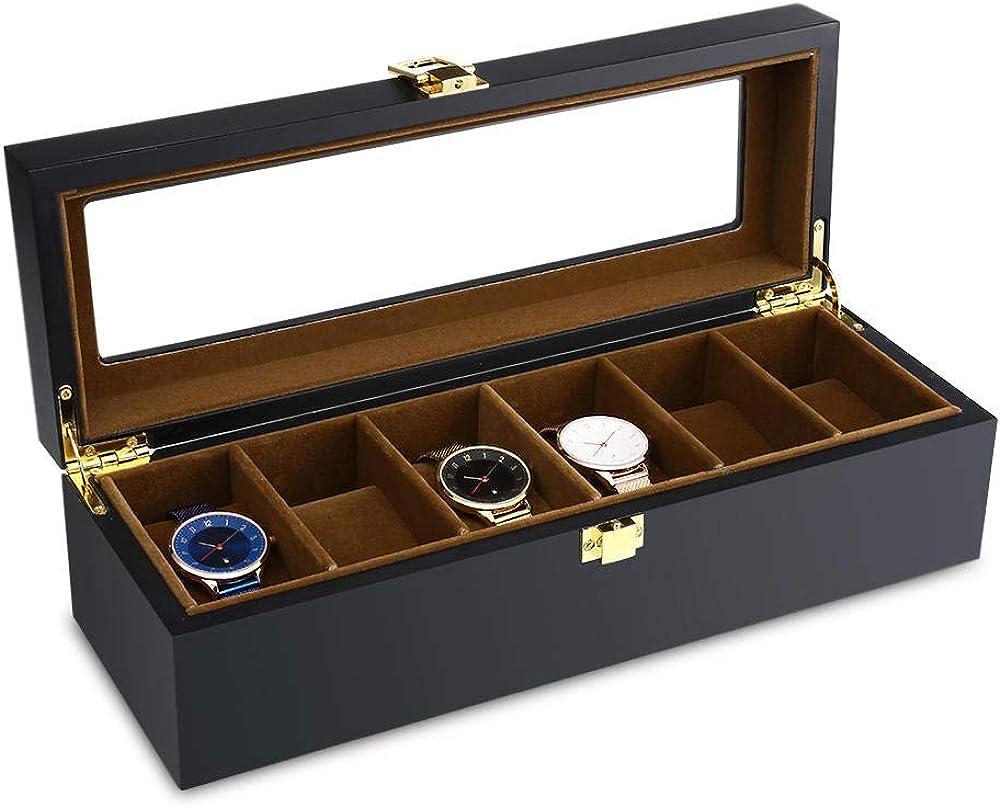 FIONAT Caja De Reloj 6 Rejilla Reloj Almacenamiento Reloj ...