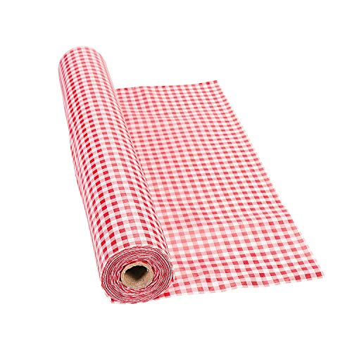 Fun Express - Red Gingham Tablecloth Roll - Party Supplies - Table Covers - Print Table Rolls - 1 -