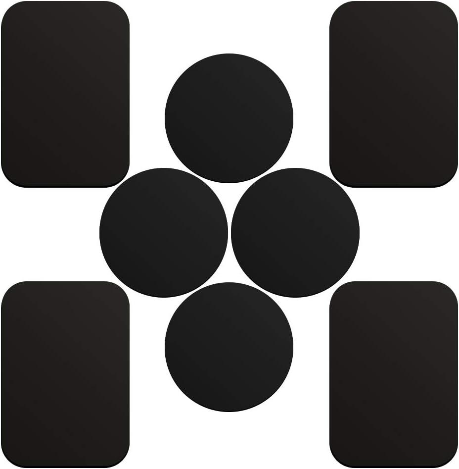 SKYEE 8 Piezas láminas Metálicas con 3M Adhesiva (4 redondas y 4 rectangulares) muy finas Reemplazo de la placa de metal para Soporte Movil Coche Magnético - Negro