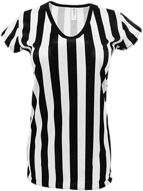 Murray Sporting Goods Mens Official Uniform Black and White Stripe V-Neck Referee Shirt