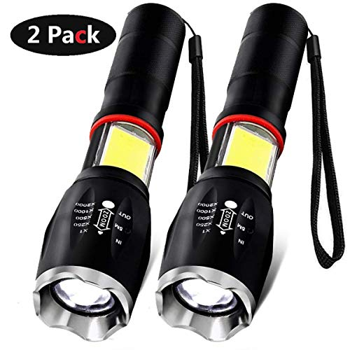 (LED Flashlight, Vnina Tactical Flashlights Super Bright LED Torch Light 6 Light Modes 1200 Lumen, Zoomable Adjustable Focus Portable Water Resistant for Outdoor Hiking Camping Emergency, 2)