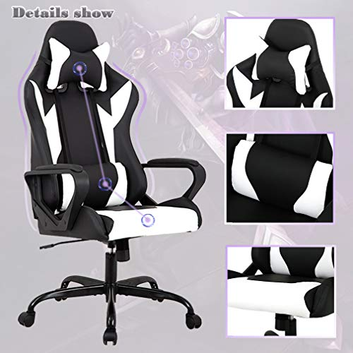 BestMassage Racing Chair, High-Back Leather Chair Rolling Headrest Women, Men
