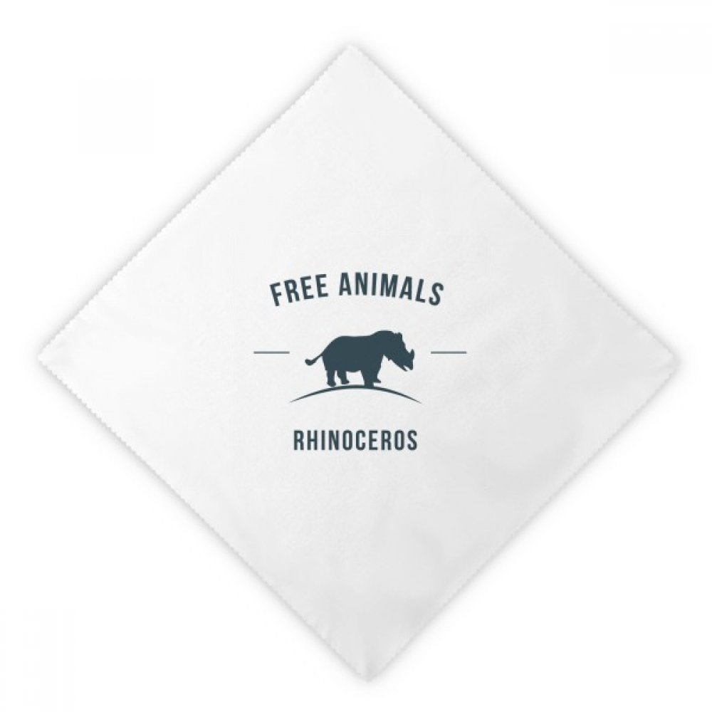 DIYthinker Cartoon Rhinoceros Animal Blue Silhouette Dinner Napkins Lunch White Reusable Cloth 2pcs