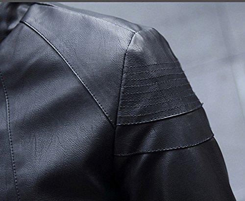 Giubbotto inverno Giacca Cappotto Cerniera Fit Autunno Nero Slim Di inverno Pu On Bomber Pelle Uomo HWpnIqSx