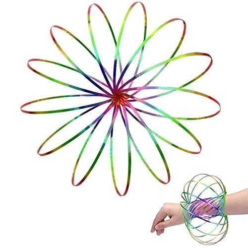 Amazing Magic Flow Rings Kinetic Educational Spring Toy Funny Outdoor Game Intelligent Relax 3D Kinetic Ring Spring Bracelet Stainless Metal Galactic Globe Toy Fit for Kids Boys Girl Adults (Rainbow) ()