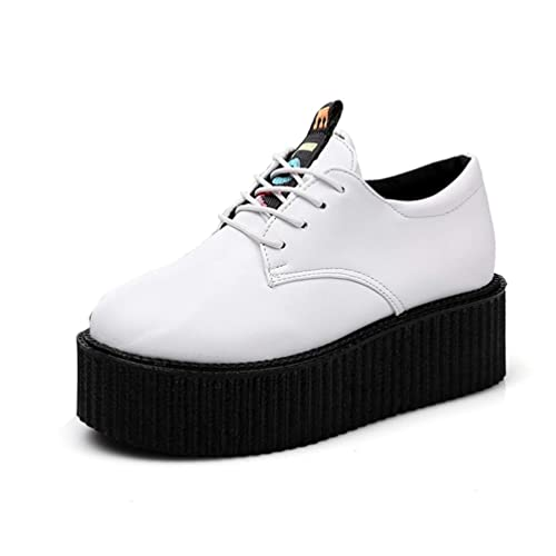 Zapatos De Plataforma Plana De Las Mujeres De La Enredadera para Las SeñOras Primavera Ata para Arriba El Dedo del Pie Redondo Redondo Superficial Mocasines ...